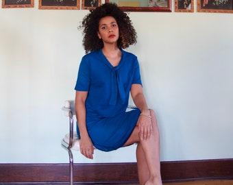 Vintage 60s Blue Knit Cropped Top Pencil Skirt Two Piece Suite Set