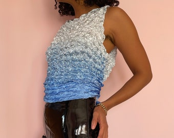 Vintage 90s Y2K Blue Ombre Origami Pleat Crinkle Texture Tank Top