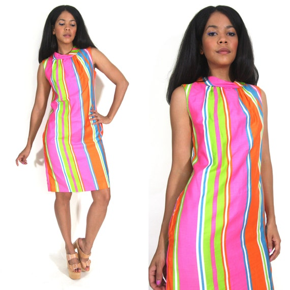 Vintage 60s Rainbow Candy Stripe Day Glo Cotton Sh