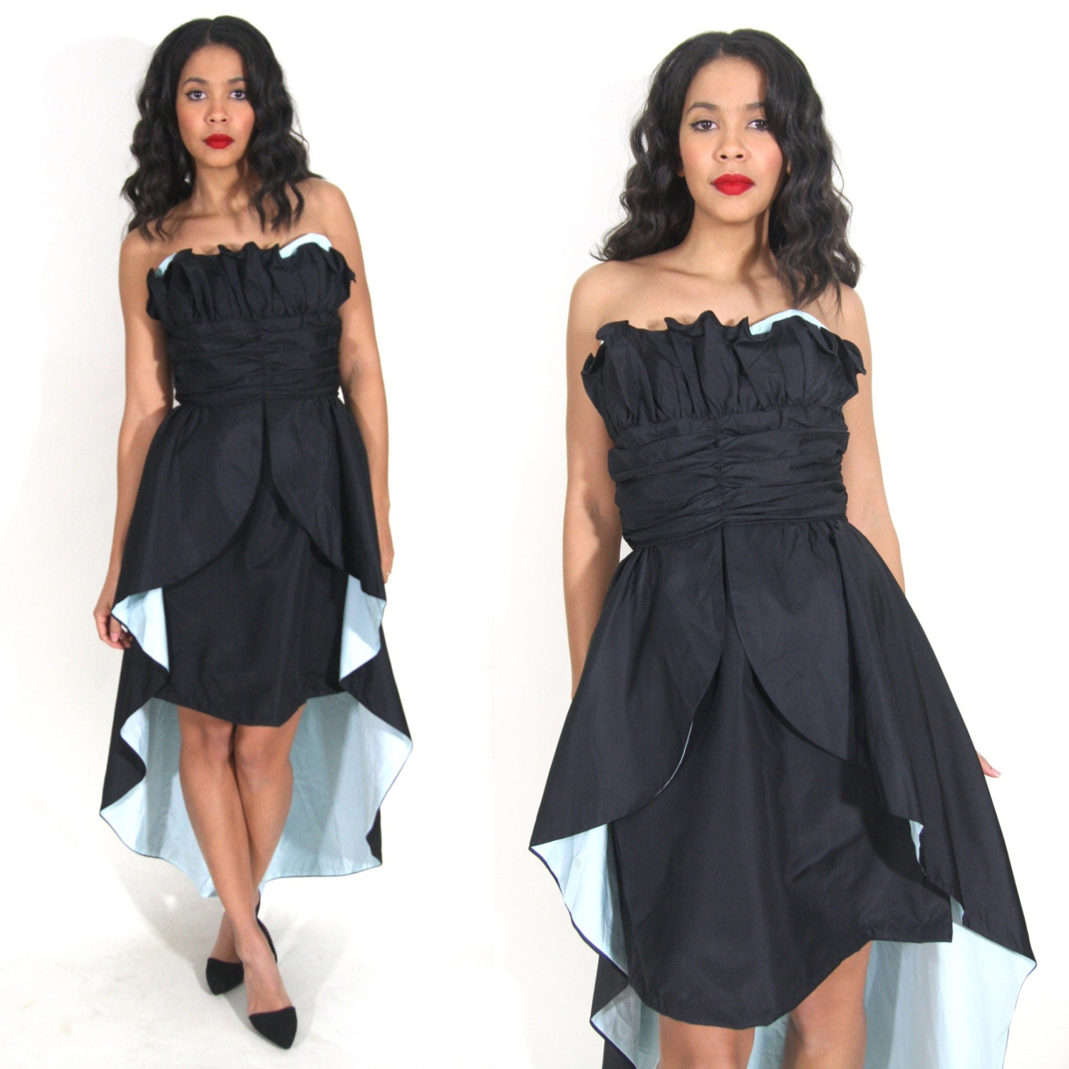 80s Dresses   Casual to Party Dresses Vintage 80S Avant Garde Black Blue Strapless Ruffle Party Dress Train Glam Holiday $20.00 AT vintagedancer.com