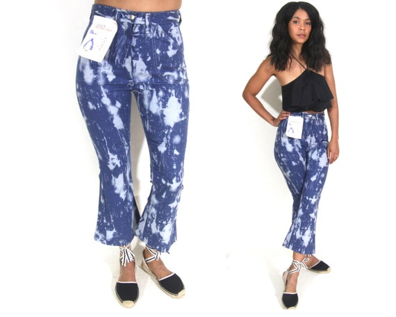 Vintage 70s High Waist Cropped Bell Bottoms Flares