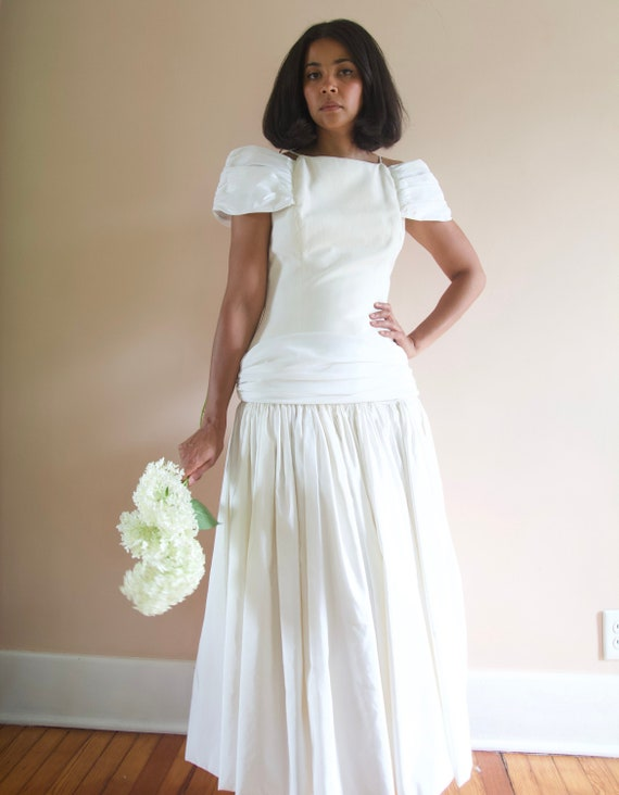 Vintage 80s 90s White Cotton Taffeta Drop Waist Of