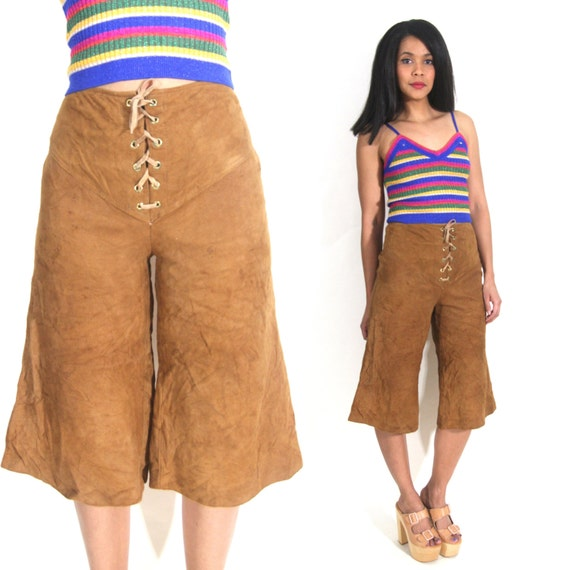 Vintage 70s Brown Suede Lace Up High Waist Shorts