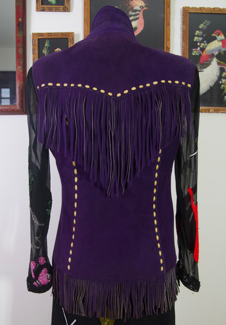 Vintage 40s Desert Suedes by Taylors of California Purple Suede Cowboy Western Fringed Vest Small Medium