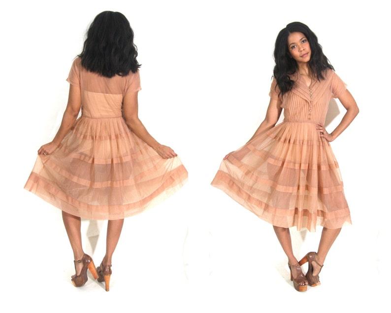 38c9585eeb3 Vintage 50s Sheer Peach Nude Full Swing Tiered Circle Skirt