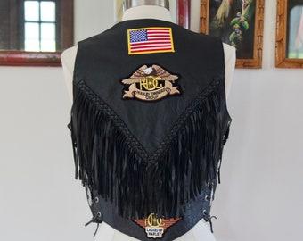 Vintage 80s Black Leather Motorcycle Vest Fringe Conchos Harley Davidson Patches Small