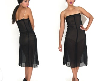 Vintage 50s 60s Sheer Black Sheath Slip Dress Modern Minimalist Glam Goth Festival