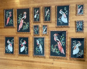 Collection of Vintage Antique Mexican Feather Folk Art Bird Paintings Wall Hangings 7 Pairs 14 Pieces Carved Wooden Frame