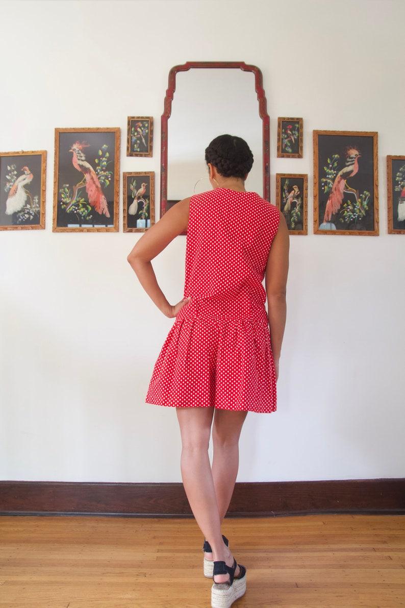 Vintage 60s 70s Red White Blue Polka Dot Scalloped Romper Drop Waist Dress Medium