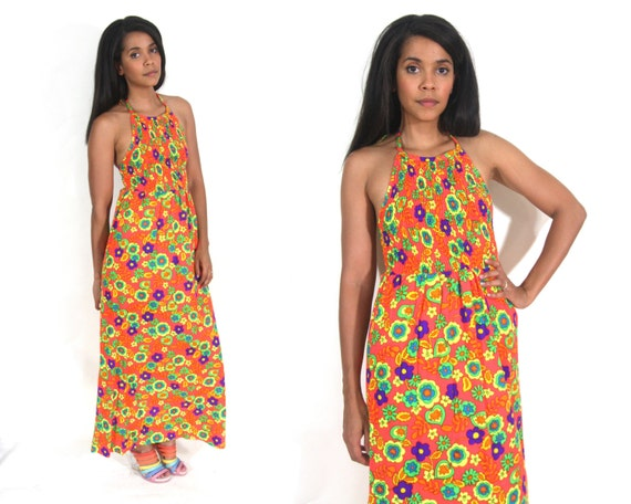 Vintage 60s 70s Day Glo Floral Flower Power Psyche