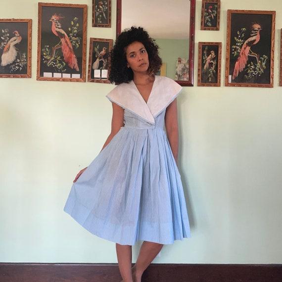Vintage Made Men Sailor Collar Dress Midi Brown /& White Small Medium 60s 70s dresses