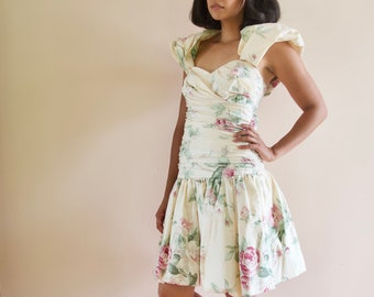 Vintage 90s Garden Party Mini Dress Rose Floral Print Dropped Waist Puffed Sleeve Strapless