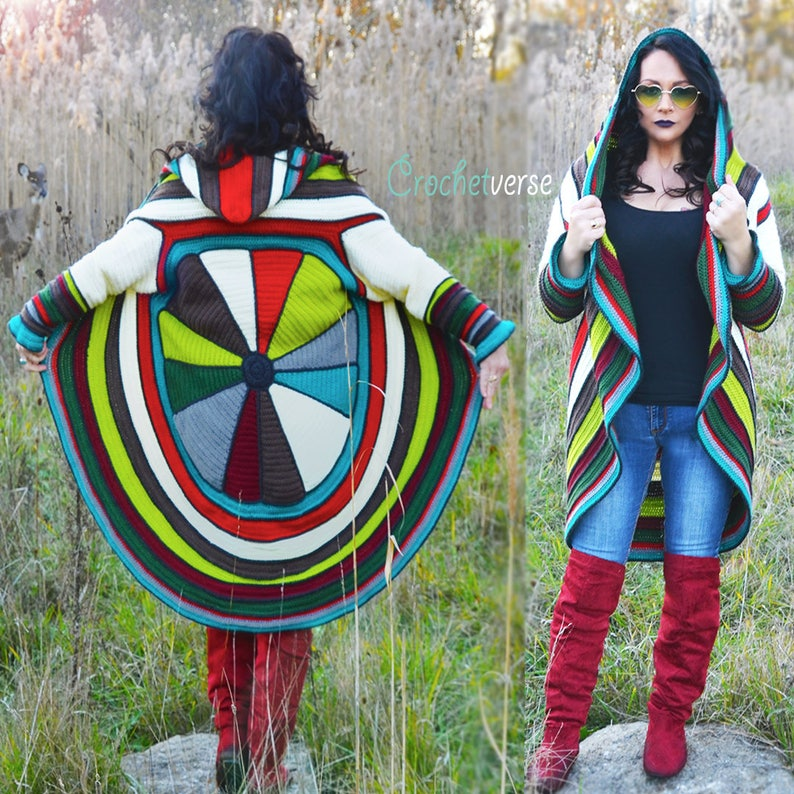 Splendor Circle Sweater Coat Crochet Pattern  Fairy Hooded image 0