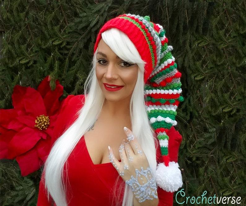 Crochet Fairy Bells Stocking Pixie Cap Hat Pattern Christmas image 0