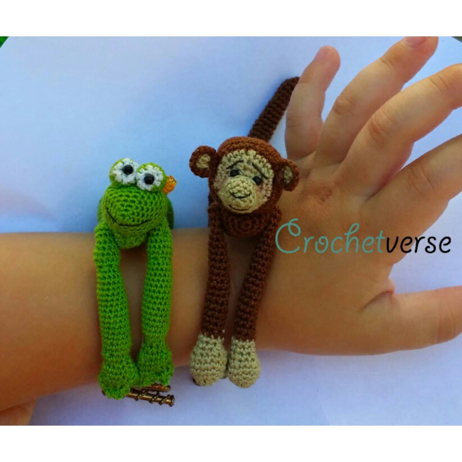 Animal Hug Bracelets Crochet Pattern Miniature Monkey Bear Etsy
