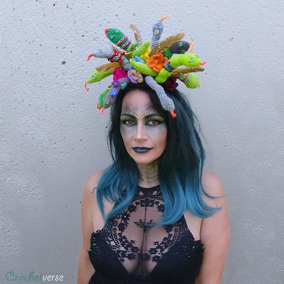Adult Womens Medusa Accessories Mask Collar Belt And Armband Fancy Dress