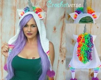 Crochet Unicorn Hood Pattern -Ode to Artax - Halloween Costume Cosplay