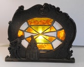 Art Deco Stained Glass Accent Light Victorian Style Lamp
