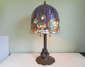 Large Stained Glass Table Lamp Blue with White Flowers Very Heavy Lamp