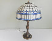 Stained Glass Lamp Blue and White Table Lamp