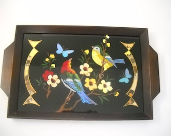 Decorative Wood Tray with Birds, Flowers, and Butterflies