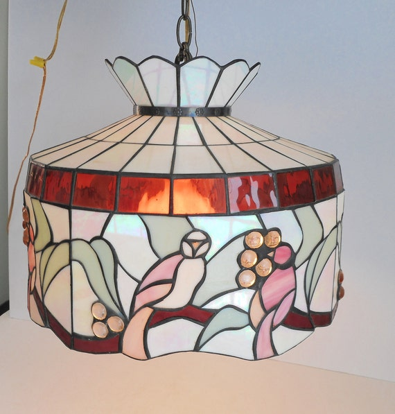 Superieur Large Stained Glass Hanging Light With Pink Birds And Beads