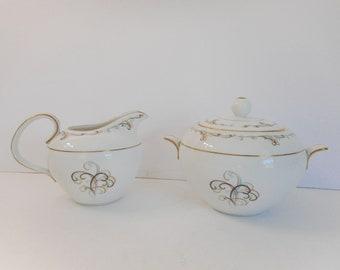 Noritake Sugar Bowl and Creamer  Esteem by Noritake  Number 5559
