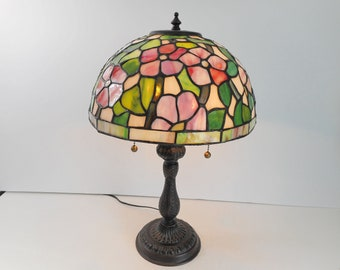 Stained Glass Table Lamp Pink Roses with Greenery  Metal Tag Inside Marked Dale Tiffany Inc.