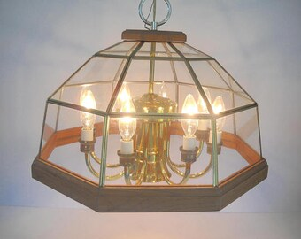 Hanging Ceiling light with Clear Glass and Wood and Gold Finish 8 bulbs