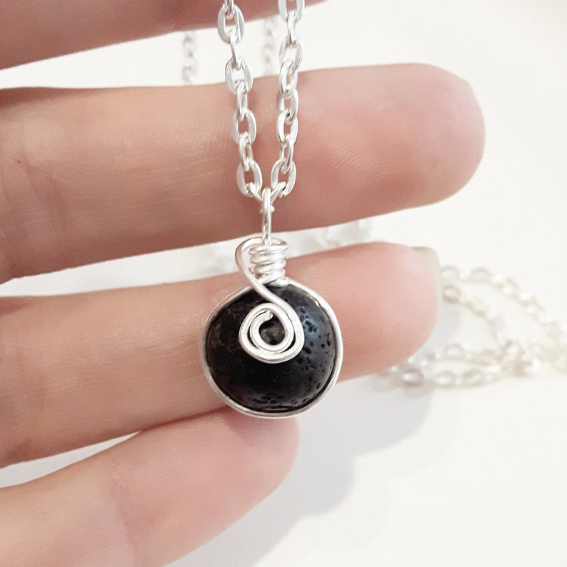 Custom Silver Small Lava Rock Diffuser Aromatherapy Necklace Jewelry Jewellery Minimalist Essential oils wire wrapped dainty simple 25 30