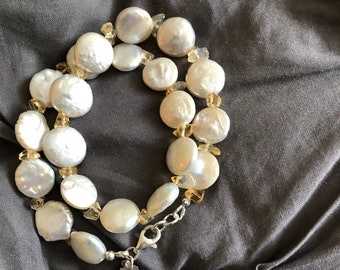 Freshwater Coin Pearl and Citrine Double Strand Bracelet