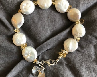Freshwater Coin Pearl Bracelet with Swarovski Heart