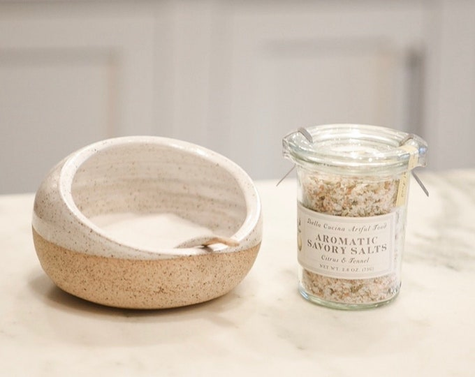 Stoneware Salt Cellar/Gourmet Salt Gift Set