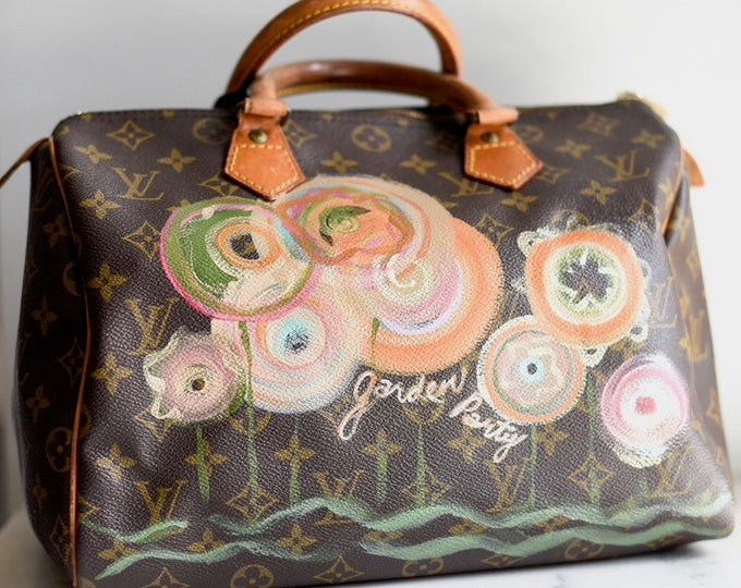 Handpainted Authentic Louis Vuitton Speedy Handbag