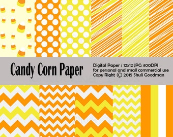 Candy Corn digital paper, Clipart,  Digital paper, Instant Download, chevron, 12x12 digital, chevron paper, Halloween, candy corn