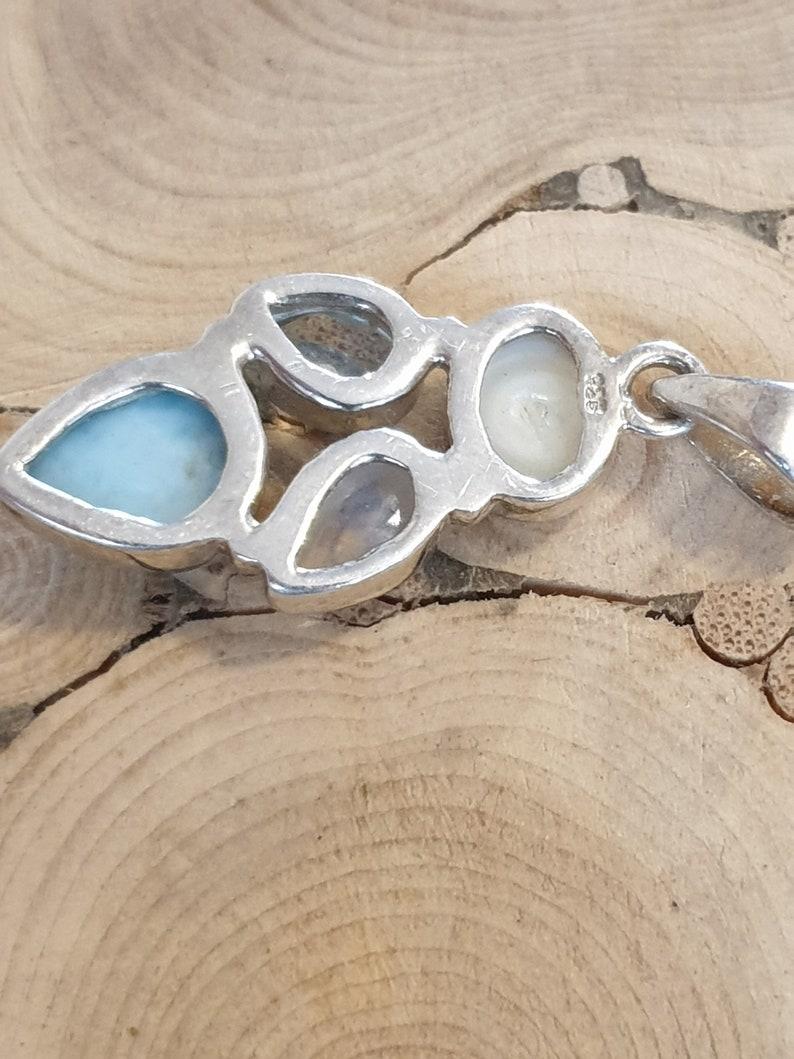 Blue Topaz Rainbow Moonstone and Pearl Gemstone Pendant,Sterling Silver /& Gemstone Pendant Natural Larimar