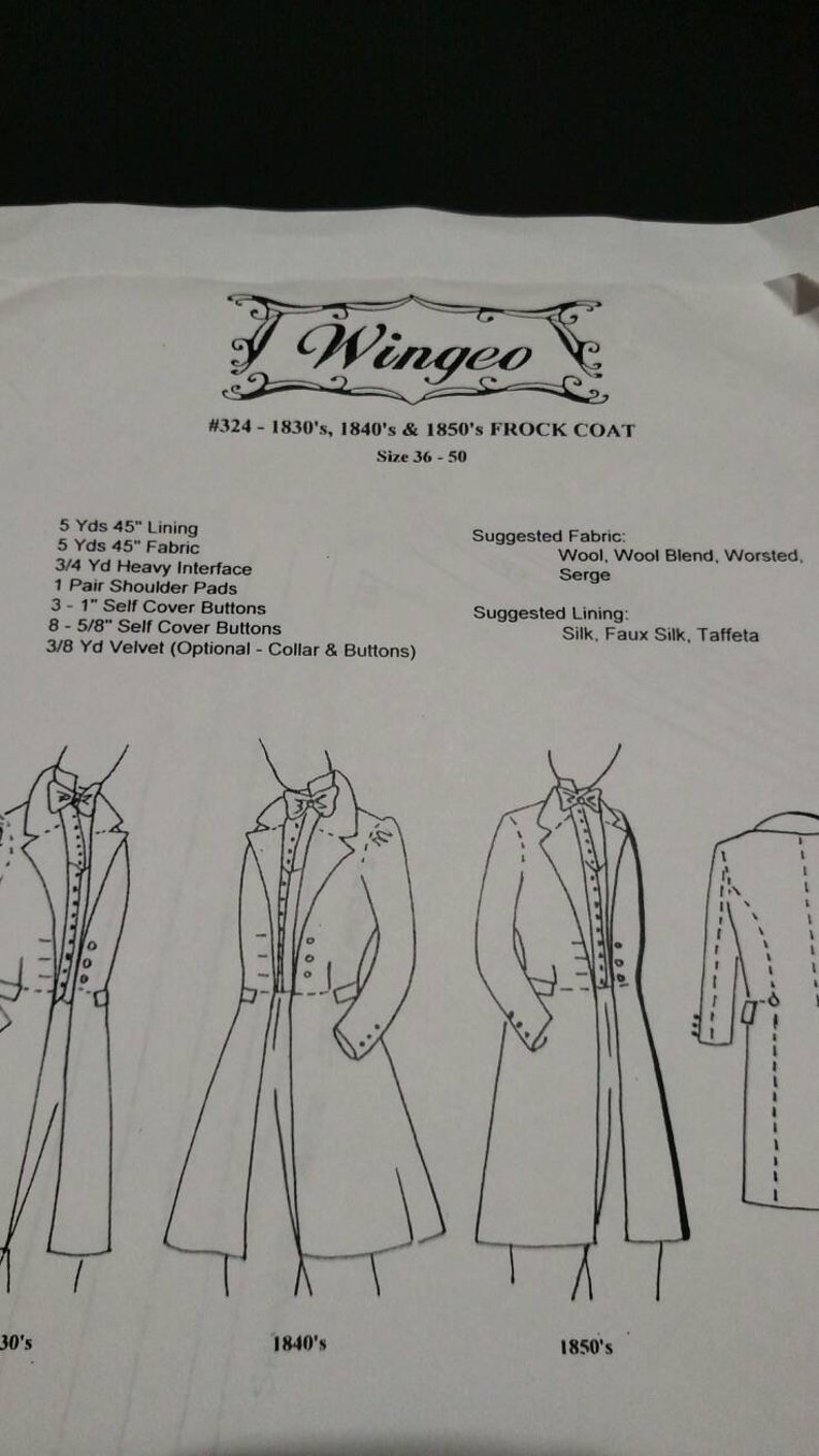 Victorian Sewing Patterns- Dress, Blouse, Hat, Coat, Mens 1830s 1840s and 1850s pattern for Mens Frock Coat Pattern (uncut) detailed large pattern with instructions $28.00 AT vintagedancer.com