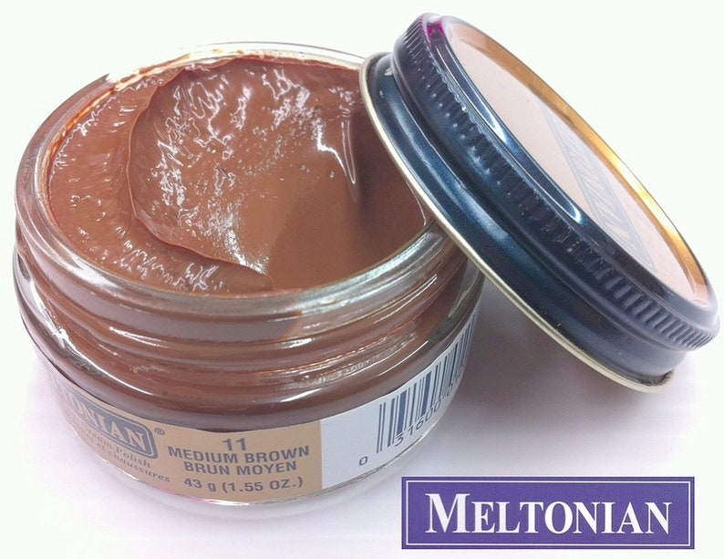 c4a7b8d9df634 Medium BROWN 11 Boot & Shoe CREAM POLISH creamy Conditioner Leather shoes  boots handbag Exotic skin with natural wax waxes Meltonian #11 011