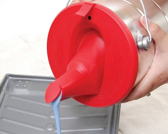 red 1 gallon paint can lid with store silicone pour spout etsy