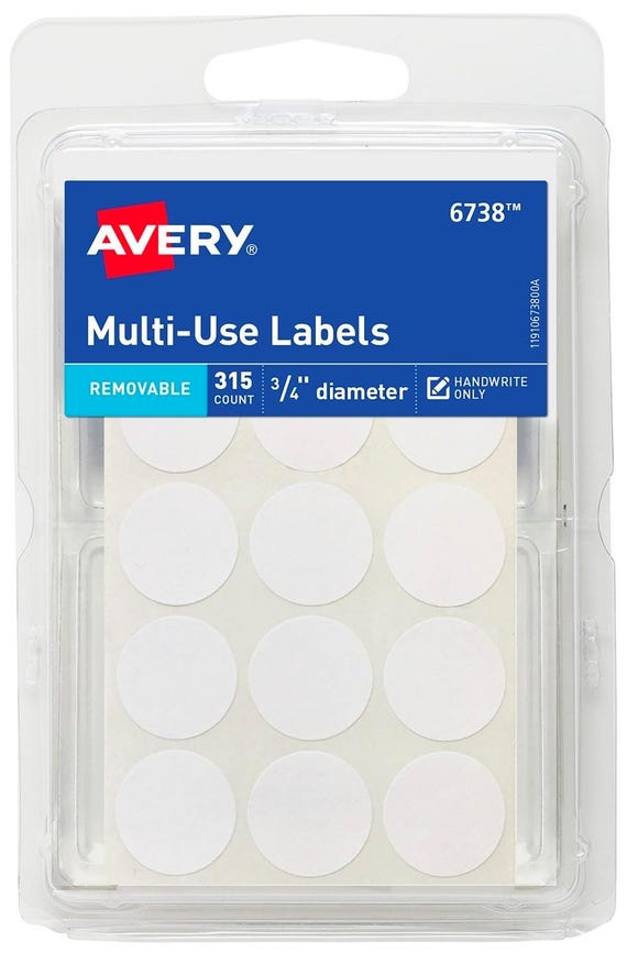 315 rOund Removable self ADHESIVE LABELS White circular 3/4