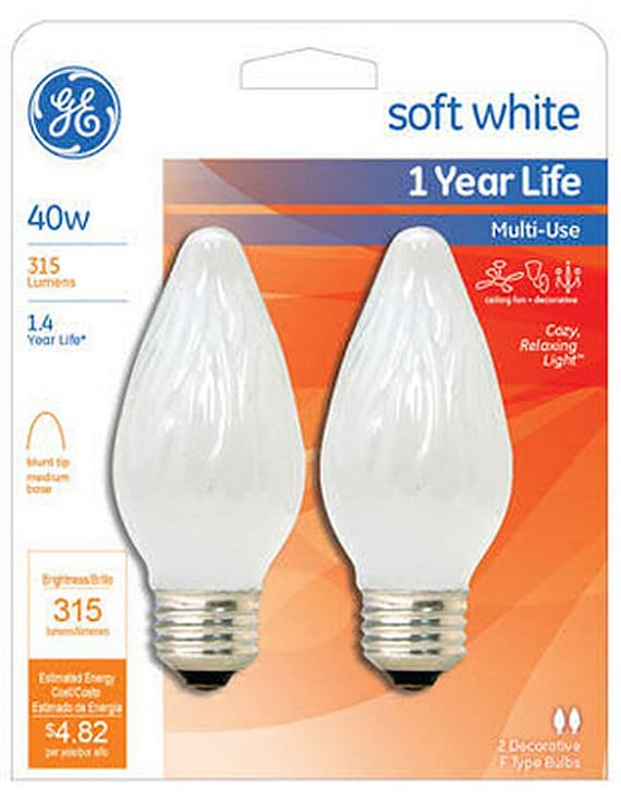 2 Ge Soft White Decorative Light Bulb 40w E26 Flame Tip For Wall Sconce Ceiling Fan Multi Use 40 Watt 75342 40fm W Cf2 Tp4