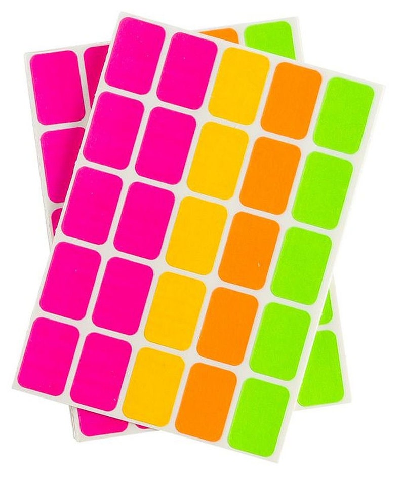 525 Removable Adhesive Neon COLORED CODING Labels Stickers multi colors  pink yellow orange green price folder organization tags AVERY 6721