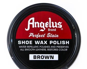 Brown Paste SHOE WAX POLISH Leather Shoes Boots upholstery shine polishing 3 oz rOund metal tin Angelus 400-03-014