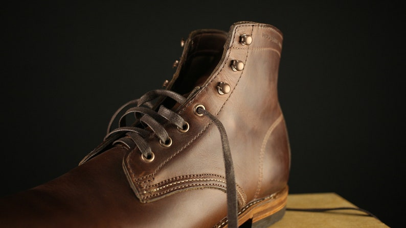 8a93726e347cc Brown flat waxed BOOT LACES 63 long x 1/4 wide 6 7   Etsy