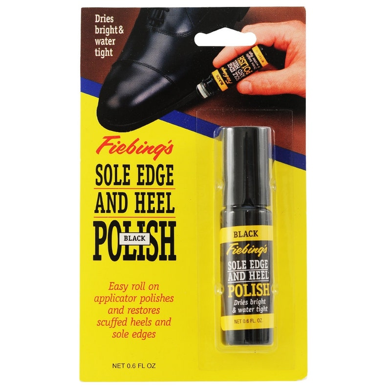 a27e40ba641 Fiebing's BLACK Sole Edge and Heel Polish Dressing liquid Polish touch up  with applicator shoe boot shoes boots leather Fiebings SOLE01P001Z
