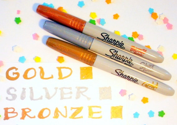 Sharpie Metallic Permanent Marker Pen Fine Gold Silver and Bronze Pack of 3 1