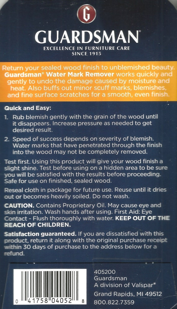 Guardsman Water Mark Remover Wood Surfaces 1 Cloth New