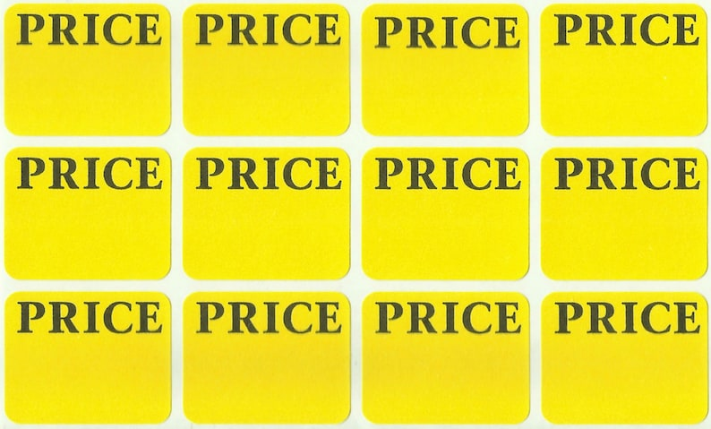 300 Price LABELS Removable Self Adhesive Pricing Yellow Color