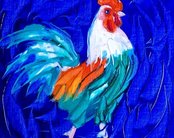 Rooster oil painting original, rooster painting, chicken art, kitchen art, kitchen painting, farm art, farm painting