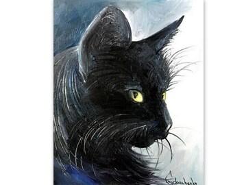 Cat original oil painting by Tetiana